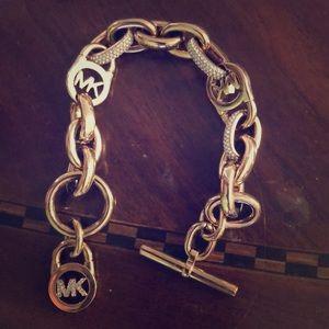 Michael kors rose gold bracelet with pave crystal